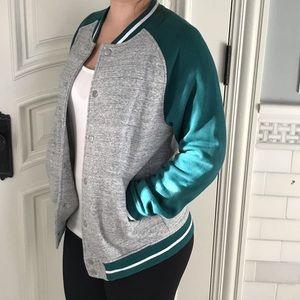 H&M green & grey jersey varsity jacket fleece s